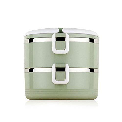Aolvo Edelstahl Isolierung Lunch Box, 2 Schichten Auslaufsicher Bento Box Food Carrier Thermal Lunch Box für Kinder und Erwachsene - 1000mL / 35 Oz -