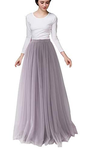 Damen Lange Tüllrock Bodenlang Rock A-Line Maxi hohe tailliertes für Hochzeitsfeier