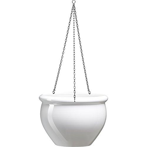Emsa 512667 Hängeschale für Balkon, Glasurkeramik-Optik, Perlweiss, 5,5 L