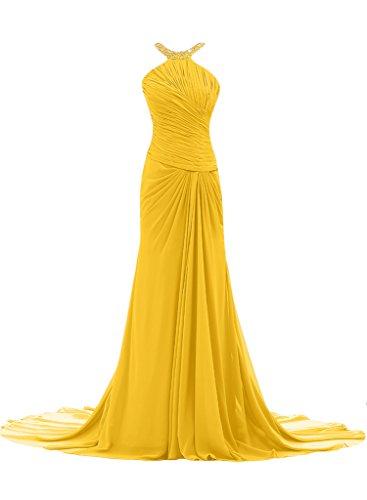 ivyd ressing Femme Ligne étui élégante traîne mousseline Prom robe robe de bal robe du soir Doré