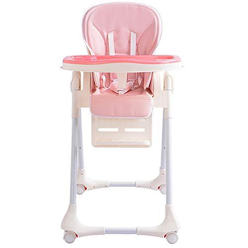 ZJPP Kinder kostenlose Installation von Baby Hochstuhl, Faltbare tragbare Double-Layer-Platte + Universal-Rad,Pink -
