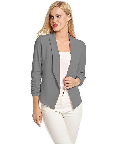 LaLaLa Damen Blazer Tailliert Kurz Slim Business Büro Jäckchen Anzug Casual Kurzblazer Mantel Jacke (Dunkelgrau,L
