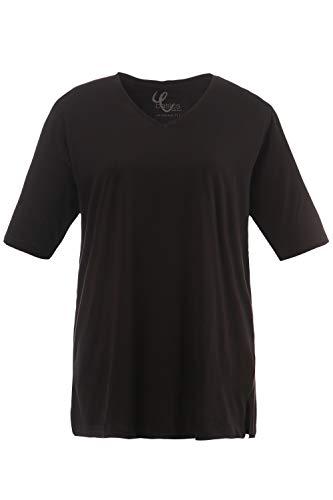 Ulla Popken Damen große Größen Basic-Shirt, 1/2 Arm, V-Ausschnitt schwarz 50/52 515283 10-50+
