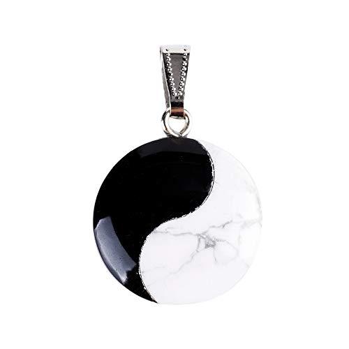 ZUHN 25Mm Schwarzer Obsidian Runde Tai Ji Supreme Pole Anhänger Stein Geschnitzt Pendel Chakra Heilung Reiki Für Männer Frauen - Runde, Weiße Glasschirm