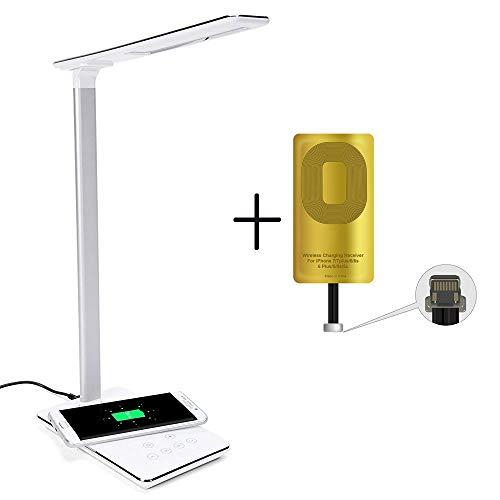Lampe de Chevet & Chargeur Sans Fil, Lampe de Bureau LED avec Touch Control Lampes de Table Bras en Aluminium Port USB 4 Modes 5 Niveaux Lecture Luminosité Réglable Lampe de Nuit Rechargeable, Noir