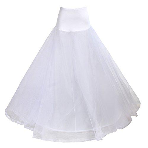 Tuka sottogonna con pizzo, 1 cerchio, 3 strati, crinolina sottoveste, per vestito abito da sposa, taglia unica, adatto per taglia 32 - taglia 42. bianco, tkb0019 white