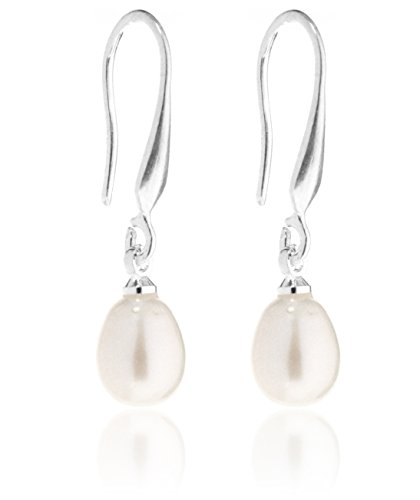 2LIVEfor Perlenohrringe Hängend Silber Tropfen Versilbert mit echten Süßwasserperlen Tropfenform Ohrringe Perlen Weiß Creme Rosa Rose Ohrhänger Perle (Weiß)