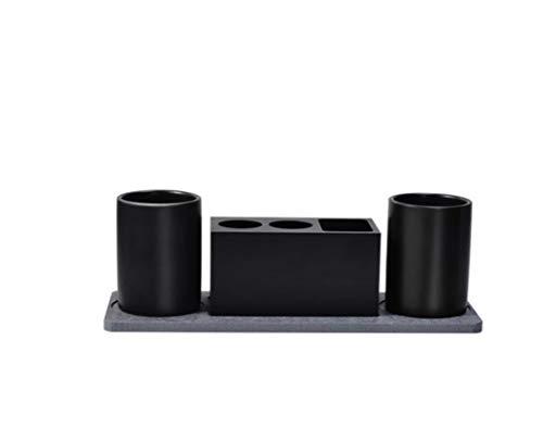 LHFJ Elektrische Zahnbürste Zahnpasta Ständer Halter 304 Satinless Stahl Bad Zahnbürste Lagerregal Box Set Mit Mundwasser Tassen 3 Arten Option (Farbe : Schwarz, Auflage : 4 Sets) -
