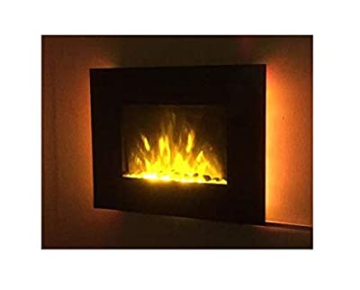 TruFlame 2019 LED Side Lit (7 colours) Wall Mounted Flat Glass Electric Fire with Log and Pebble Effect (66cm wide)