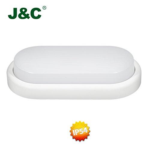 Preisvergleich Produktbild J&C® 8W IP54 - ersetzt 45 Watt Feuchtraumleuchte Deckenleuchte Einbaulampe Badleuchte Badlampe Energiesparlampe Nassraumleuchte Kellerleuchte Naturlweiß 4000-4500K 198*97*39MM 550 Lumens RA80 für Badzimmer Küchen Korridor Draußen Nassraum