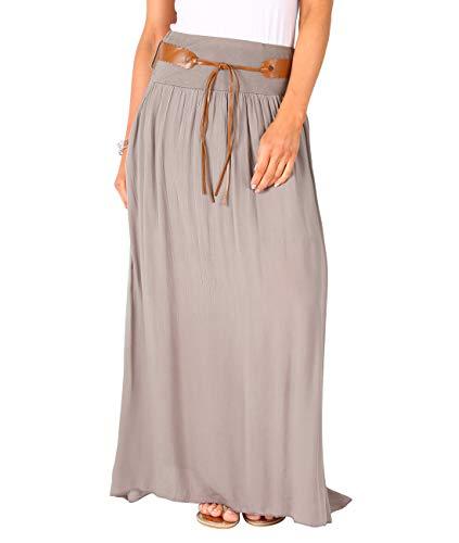KRISP 4809-TAU-LXL, Falda Larga Bohemia Elegante Plisada Hippie Cintur