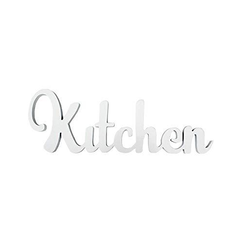 rebecca mobili scritta da appendere shabby, targa bianca per cucina soggiorno, legno, complementi d'arredo - misure 14 x 40 x 1,2 cm (hxlxp) - art. re6186