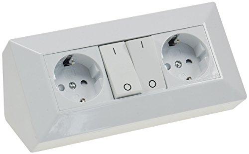 Schaltbarer Steckdosenblock Eck-Steckdose 2 Schutzkontakt-Steckdosen + 2x Schalter I 45° Winkel I 230V Aufbau & Eck-Montage für Arbeitsplatte Küche Werkstatt I Weiß
