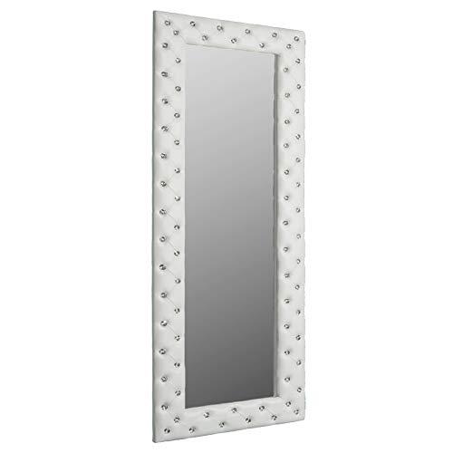 Invicta Interior Pompöser Spiegel BOUTIQUE 170x60 weiß mit Strassknöpfen Wandspiegel mit Strass Steinen