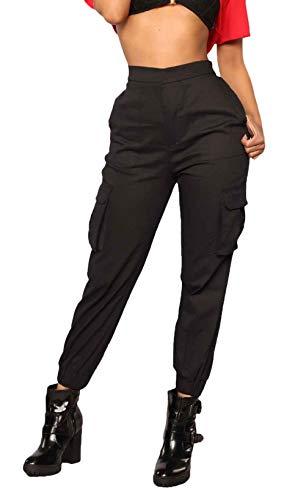 BOLAWOO Damen Cargohose Retro Freizeit Hose Mode Marken Unifarben Herbst Frühling Mit Seitentaschen Elastische Taille Pants Jogginghosen (Color : Schwarz, Size : S)