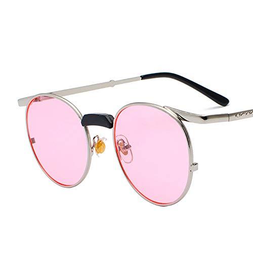 QYEND New Polarized Sonnenbrillen Retro Steampunk Sonnenbrillen Small Frame Round Sonnenbrillen Damen Round Lens UV 400 Schutz,B