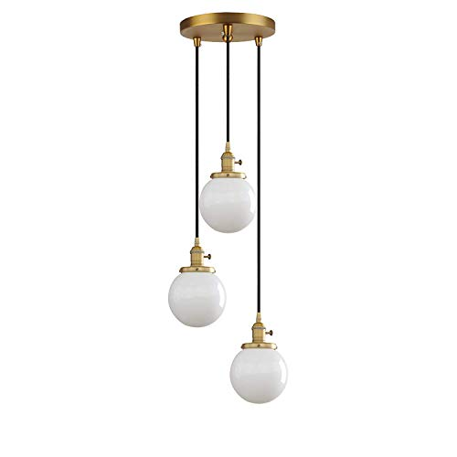 Industrial Modern Vintage 3 Pendant Ceiling Lamp Antique Light Fitting Chandelier Glass Globe White Lampshade Hanging Light for Kitchen Island Dining Room Living Room Cafe Bar Restaurant (3-way Light Wire Switch)