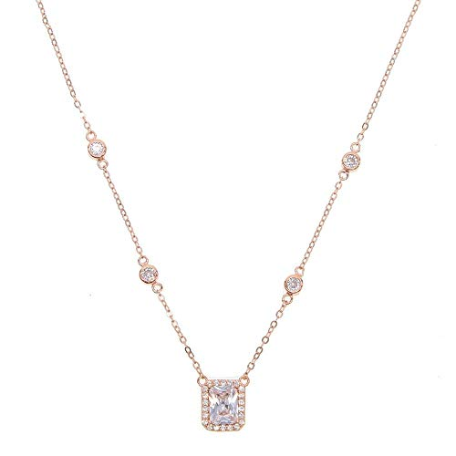 ZUXIANWANG Damen Halskette,Rose Gold 925 Sterling Silber Feine Hochzeit Schmuck Funkenbildung Bling Ring Zirkonia Cz Elegante Halskette