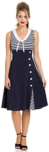 Voodoo Vixen Kleid Vera Nautical Flared Sailor Dress 8496 Blau M