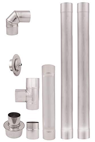 Diamètre 80 mm Tuyau en acier inoxydable pour poêles à granulés, tuyau d'échappement, tuyau coudé pour poêles à granulés simple paroi résistant aux intempéries - Conduit de fumée revêtu de chrome-nickel pour poêles à granulés de cheminée