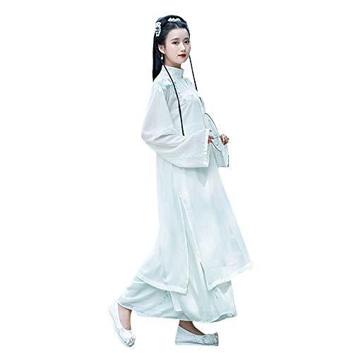 YCWY Chinesisches Kleid, Weinlese gestickter Langer Abschnitt Hanfu für Lange Hülsenfotoaufnahmekleidung der Frauen Cosplay Tanz-Kostüm-Blumen-Drucken 2 teiliges Set,M (Der Chinesische Tanz Kostüm)