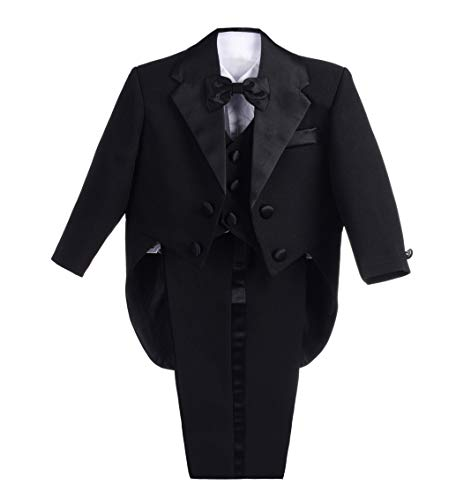 Lito Angels Baby Jungen 5 Stück set Tuxedo Tux Schwanz Formale Outfits Page Boy Anzug Hochzeit Outfits Gr. 9 Monate Schwarz (Schwarz Formale Hochzeit Tuxedo)