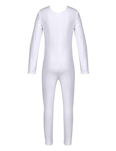 lettanzug Langarm Ballett Trikot Ganzkörperanzug Kinder Einteiler Jumpsuit Kostüm Overall Elastischer Body Gymnastik Turnanzug Weiß 128-140 ()