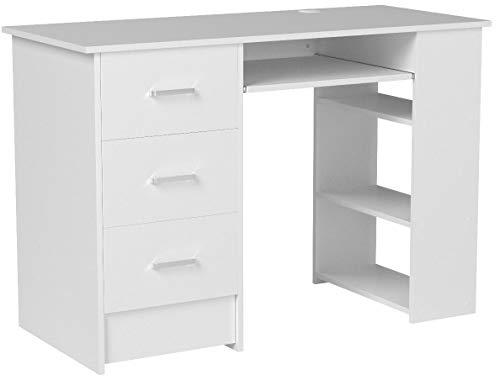 Homfa Mesa de Escritorio Mesa Ordenador con cajones y estantes para Oficina Despacho Mesa para estudios Blanco 110X49X75cm