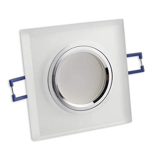 LED Einbaustrahler matt - eckig 7 Watt neutralweiß 230V GU10 - aus Glas in edler Optik - Einbau-Spot ohne Trafo Einbau-Leuchte Panel -