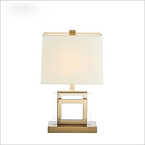 OOFWY E27 Tischlampe Moderne einfache Art für Hotel-Schlafzimmer-Wohnzimmer-Nachttopf-Dekoration-Spinnen-Tuch Lampenschirm-Kristallmetallunterseiten-Schreibtisch-Lampen-Höhe 57CM