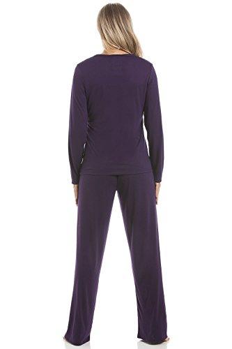 Camille - Ensemble de pyjama long pour femme - motif chouette blanche - violet Violet