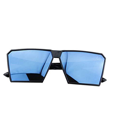 Timlatte Große Rahmen Retro-Sonnenbrille Retro-Platz Brillen Männer Jungen Frauen Mädchen Brillen Street UV400 Helles schwarzes Blau one Size