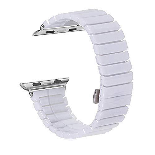 WETERS Iwatch Band Für Apple-Uhr-Serie 1 Serie 2 Serie 3 Sportversion 38MM 42MM Schwarz-Weiß Reines Keramik Armband,White,38Mm - White-band-uhr