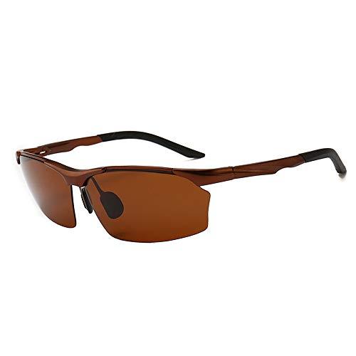 Herren Aluminium Magnesium Sonnenbrille mit halbem Rahmen Driver Sports Reitbrille Trend Polarisierte Sonnenbrille Brauner Rahmen Tea Slice 18,0 cm * 8,0 cm * 8,0 cm