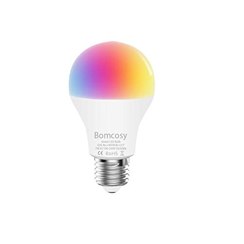 Lampadine Intelligente Wifi E27 A60LED RGBCW A60 7W Multicolore Dimmerabile Compatibile con Alexa e Google Home Dispositivo IOS Android App Controllata Non Richiede Hub 1 Pezzi