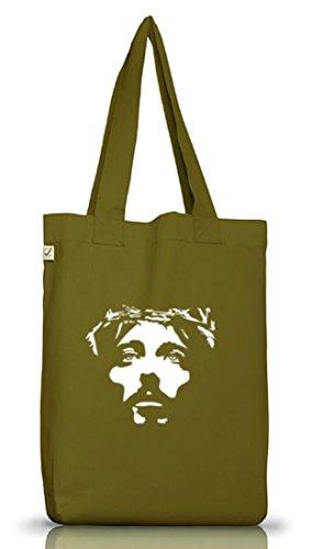 Shirtstreet24, Jesus Face, christlicher Jutebeutel Stoff Tasche Earth Positive (ONE SIZE) Leaf Green