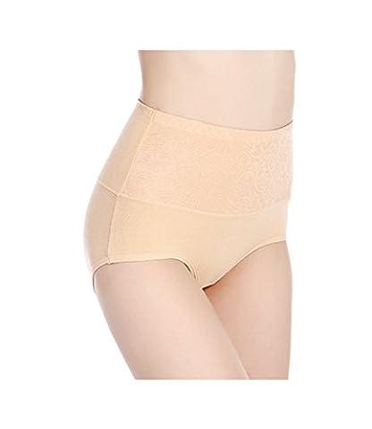 DYLH Femme Culottes Crochet Bikinis Coton Slips parfaite Stretch Caleçons Beige XXL