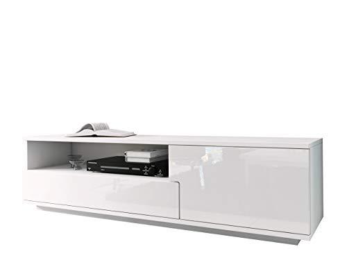Mirjan24 TV Board mit Grifflose Öffnen, Laminatplatte/MDF, Weiß Hochglanz, 144 x 10 x 43 cm