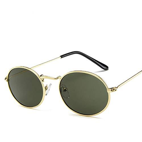 HANSUNNYTYJ Sonnenbrillen Damen Klassische Rosa Reflektierende Oval Sonnenbrille Frauen Männer Retro Metallrahmen Wrap Beschichtung Spiegel Sonnenbrille Für Frau