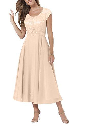 Charmant Damen Rosa Spitze Kurzarm Geraft Brautmutter Abendkleider Abiballkleider Partykleider Lang A-linie Perlen Rosa