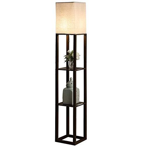 QIANGUANG® Lampadaire en bois de 1,6 m avec étagères pour chambre et salon (sans ampoule) (Noir USB)