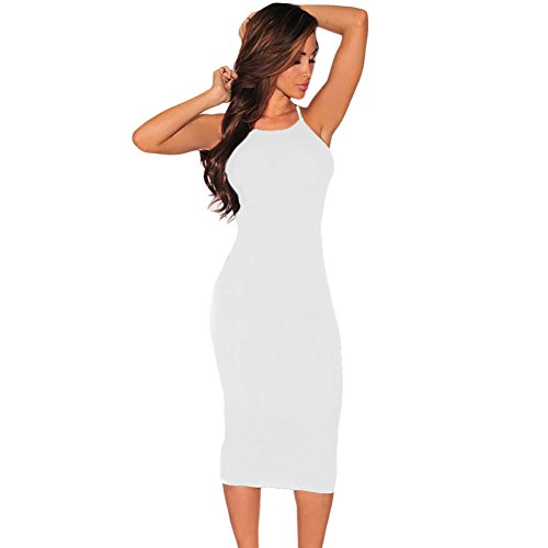 PU&PU Femmes Détente / Sorties / Party Strips Hollow Out Bodycon Dress, Col rond sans manches Black
