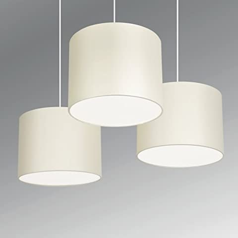 MiniSun - Set Of 3 - Modern Cream Drum Pendant Ceiling Light Shades With (Tre Paralume)