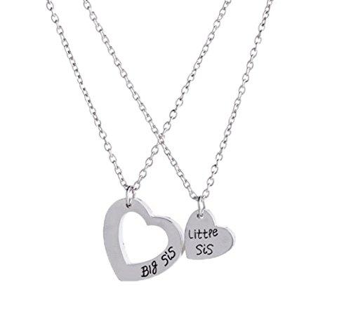 Fengteng Good Sisters Big Sis Little Sis Heart in Heart Heart Splice Mosaic Necklace