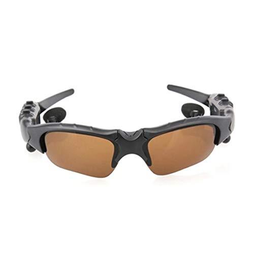 LINDANIG Antwort Eine Stereo-Bluetooth-Brille Polarisierte Sonnenbrille Bluetooth-Bewegung Bluetooth-Brille USB-Aufladung (Color : Brown)