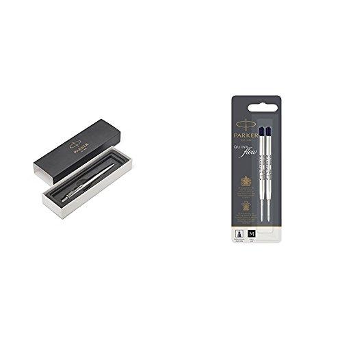 Parker Stylo-bille Jotter Premium acier inoxydable à motif diagonal et attributs chromés + Quink Recharge Encre Noire Stylo Bille Pointe Moyenne