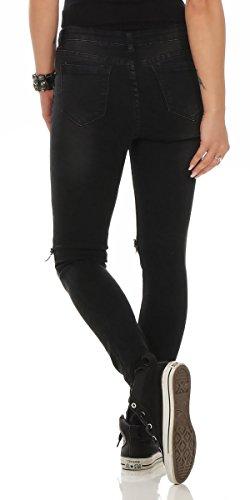 Fashion4Young Damen Jeans Röhrenjeans Hose Damenjeans Stretch-Denim Slimline versch. Designs Schwarz