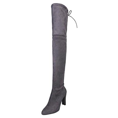 SOMESUN Stivali Donna Alto Tacchi, Faux delle Donne Slim Stivali Alti Stirata Sopra Gli Stivali al Ginocchio Scarpe dei Tacchi Alti Gray
