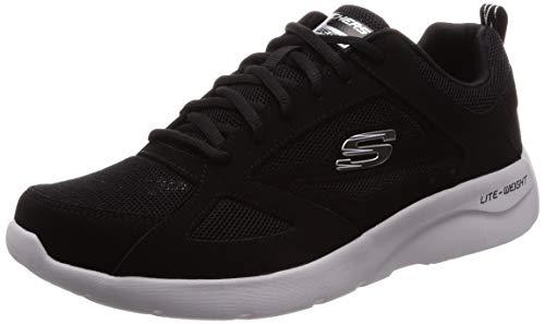 Skechers dynamight 2.0-fallford, scarpe da ginnastica uomo, nero (black leather/mesh/pu/trim blk), 45 eu