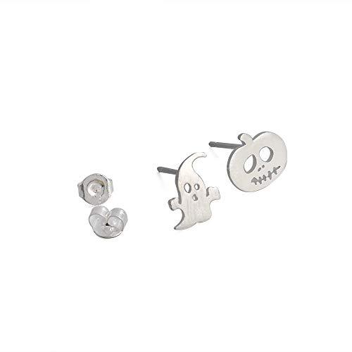 ICYANG 3 Paar Ohrringe Halloween Kürbis Ghost Ohrstecker Muster Durchbohrte Silber Frauen Party Ohrschmuck Zubehör Karneval ()